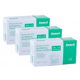 Romed Mondmaskers - 3 laags bacteriefilter met oorlussen - 3 doosjes a 50 stuks