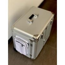 Pedicure koffer Klein Zilver met zijvakken + kar