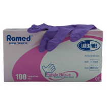 Romed Nitrile Poedervrije handschoenen - paars - overdoos van 10 pakjes à 100 st