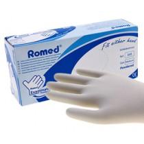Romed Latex Licht gepoederde  handschoenen - overdoos met 10 pakjes à 100 st.
