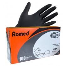 Romed PREMIUM Nitrile Poedervrije handschoenen - zwart - 5 DOOSJES